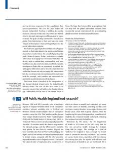 Will Public Health England lead research? - The Lancet