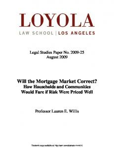 Will the Mortgage Market Correct? - SSRN papers