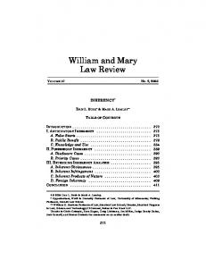 William and Mary Law Review - (SSRN) Papers