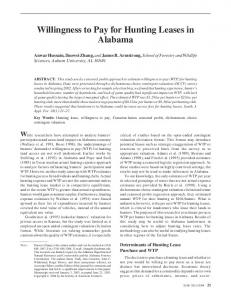 Willingness to Pay for Hunting Leases in Alabama - Auburn University