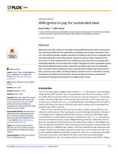 Willingness-to-pay for sustainable beer - PLOS