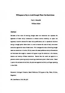 Willingness to Pay to Avoid Drought Water Use ... - PJM economics