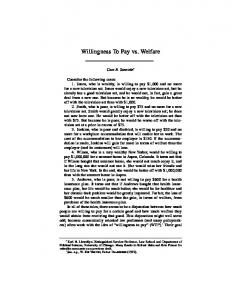 Willingness To Pay vs. Welfare - Harvard Law and Policy Review