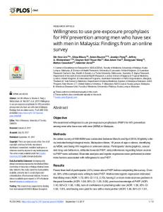 Willingness to use pre-exposure prophylaxis for HIV ... - PLOS