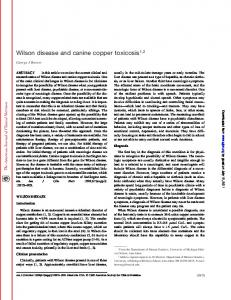 Wilson disease and canine copper toxicosis1,2