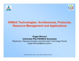 WiMAX Technologies: Architectures, Protocols, Resource ...