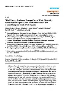 Wind Energy Study and Energy Cost of Wind Electricity ... - MDPI