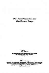 Wind Power Generation and Wind Turbine Design - WIT Press
