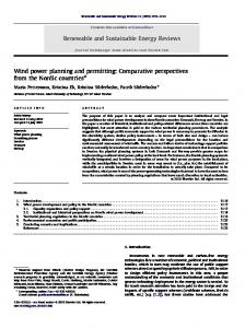 Wind power planning and permitting: Comparative ...
