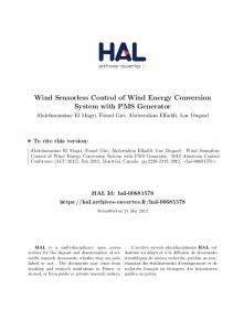 Wind Sensorless Control of Wind Energy Conversion System ... - Hal