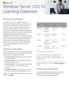 Windows Server 2012 R2 Licensing Datasheet - Microsoft