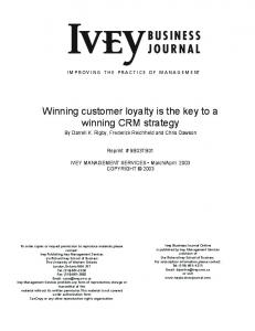 Winning customer loyalty is the key to a winning CRM strategy