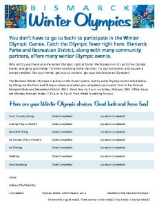 Winter Olympics - Bismarck Parks & Recreation