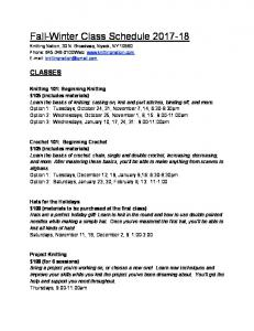 Winter-Spring 2014 Class Schedule - Knitting Nation