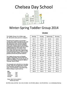 WINTER TODDLER GROUP - Chelsea Day School