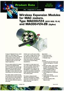 Wireless Expansion Modules for MAC motors. Type MAC00-FZ4 ...