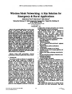 Wireless Mesh Networking: A Key Solution for ... - IEEE Xplore