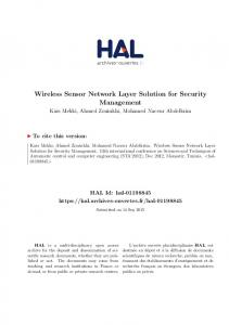 Wireless Sensor Network Layer Solution for Security Management - Hal