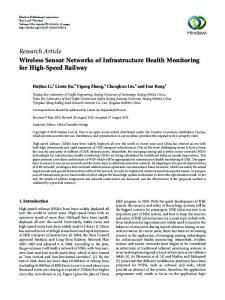 Wireless Sensor Networks of Infrastructure Health Monitoring for High ...