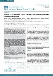Wirsung Duct Occlusion Versus Pancreaticojejunostomy after ...