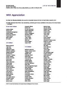 With Appreciation - Wiley Online Library