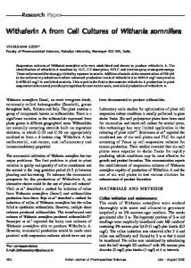 Withaferin A from Cell Cultures of Withaferin A from Cell Cultures of ...