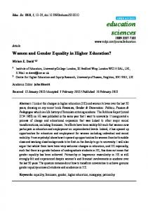 Women and Gender Equality in Higher Education - MDPI