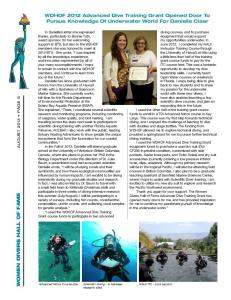 Women Divers Hall of Fame newsletter