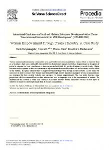 Women Empowerment through Creative Industry: A ... - Science Direct