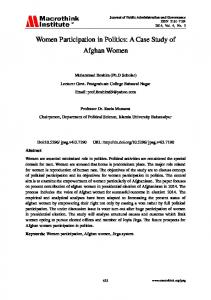 Women Participation in Politics: A Case Study of Afghan Women