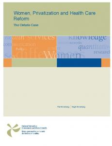 Women, Privatization and Health Care Reform