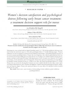 Womens decision satisfaction and ... - Wiley Online Library