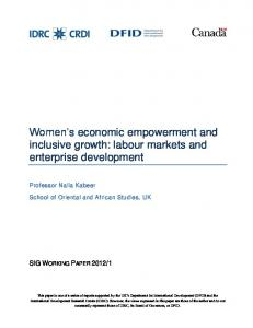 Women's economic empowerment and inclusive growth: labour ...