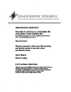 Women's education, infant and child mortality, and fertility decline in ...