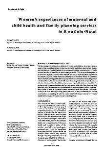 Women's experiences of maternal and child health and family ...