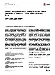 Women's perceptions of health, quality of life, and malaria ... - Core