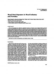 Wood Dust Exposure in Wood Industry and Forestry