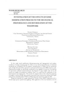 wood research investigation of the effects of some modification
