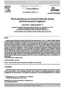 Word associations are formed incidentally during sentential ...