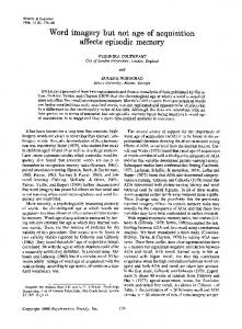 Word imagery but not age of acquisition affects ... - Springer Link