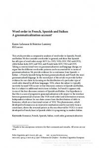 Word order in French, Spanish and Italian: A