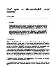 Word order in German-English mixed discourse - UCL Phonetics and