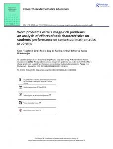 Word problems versus image-rich problems: an