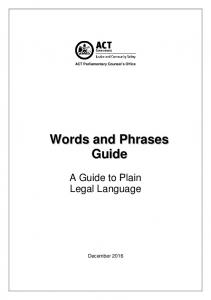 Words and Phrases - ACT Parliamentary Counsel's Office