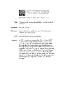 Words words words - Maxwell Institute Press - Brigham Young ...