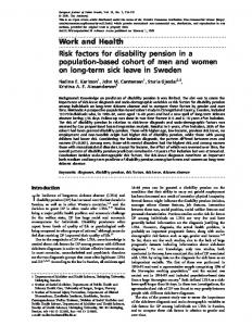 Work and Health Risk factors for disability pension in a population ...