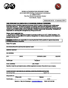 WORK AUTHORIZATION REQUEST FORM 2014 IADC/SPE Drilling ...