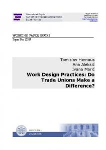 Work Design Practices: Do Trade Unions Make a Difference?