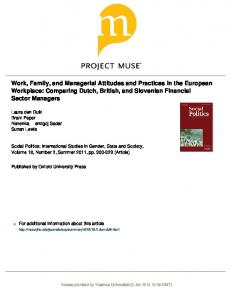 Work, Family, and Managerial Attitudes and Practices in ... - Bram Peper
