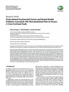 Work-Related Psychosocial Factors and Mental Health Problems ...